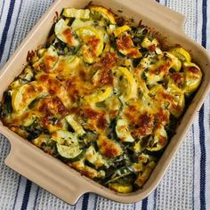 This simple recipe for Easy Cheesy Zucchini Bake has been pinned 693,000 times, and it's something I make every summer.  If you're starting to get zucchini from the garden or farmers market, this is a MUST try!  [from Kalyn's Kitchen] #LowCarb #GlutenFree #GardenVeggies #Zucchini