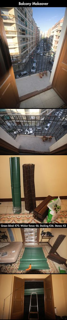 Very Creative Way To Renew Your Balcony semi-permanent, removable, great for an apartment!