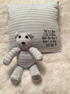 Keepsake Pillow and Small Teddy Bear Combo Set/memory bear/handmade bear/memory of loved one/Keepsake Bear/memory keepsake/loved ones