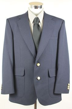 Stafford Blazer Sport Coat size 42S Navy Blue Gold Buttons 2 Btn made in USA EUC #Stafford #TwoButton