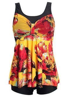 Floral Long Tankini Swimsuit With Boyshort Swim Bottom