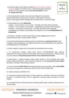"""""""CZYTAM Z KLASĄ lekturki spod chmurki"""" Education, Onderwijs, Learning"""