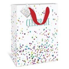 Celebrate Confetti Large Gift Bag by Graphique de France. A fun multicolored dots gift bag to fit your graduate's special gift. $4.50