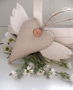 winged heart by the apple cottage company Unique Gifts, Great Gifts, Fabric Hearts, Lavender Bags, On The High Street, Natural Linen, Crafts To Do, Altered Art, Heart Shapes