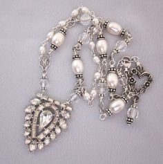 Repurposed Art Deco Rhinestone Necklace, Pearl Crystal Festoon Necklace, Bridal Necklace, Sterling Silver Assemblage