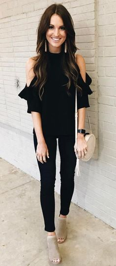 open shoulder blouse and all black