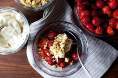 strawberries and cream with graham crumbles by smitten