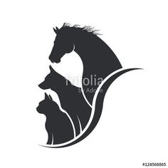 Horse, Dog, Cat Animal Lover Illustration - Buy this stock illustration and explore similar illustrations at Adobe Stock Logo Animal, Animal Graphic, Horse Logo, Horse Silhouette, Gatos Cats, Dog Logo, Cat Tattoo, Royalty Free Photos, Pet Care