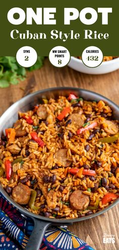 Pot Cuban Style Rice (with Chicken and Sausage) - this delicious one-pot recipe with spicy seasonings, fresh vegetables and black beans is a perfect meal for any night of the week. Gluten Free, Dairy Free, Slimming World and Weight Watchers friendly Cuban Rice And Beans, Rice And Beans Recipe, Slimming World, Slimming Eats, Seasoned Rice Recipes, Chorizo, Sausage Rice, Spicy Sausage, Cuban Dishes