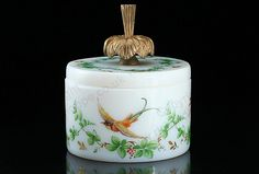 ANTIQUE c.1900 FRENCH OPALINE MILK GLASS JAR & COVER ENAMELLED BY R. NOIROT. Price: £365.00. For more information about this item click here: http://www.richardhoppe.co.uk/item.php?id=2936 or email us here: rhshopinformation@gmail.com