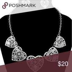 """Heart shape necklace and earring set, silver Heart shape necklace and earring set,  silver.  18"""" chain with 3 inch extender Jewelry Necklaces"""