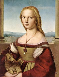 Raphael - Lady with a Unicorn, 1505. The lady was betrothed when this work was begun by Raphael, and she was originally portrayed holding a dog, a symbol of fidelity. The betrothal was broken. Raphael painted out the dog and painted in the little weeping unicorn.