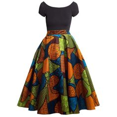 Chidera African Print Midi Circle Skirt (Orange/Green/Blue)
