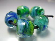 Handmade Lampwork Beads by GlassBeadArt  Green by GlassBeadArt, $10.00