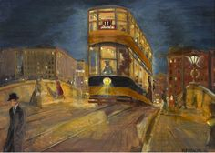 Important Irish Art; 28 November 2016</br><h1>Harry Kernoff RHA (1900-1974) THE TRAM, DUBLIN NOCTURNE,1926  </h1>Sold for €16,000