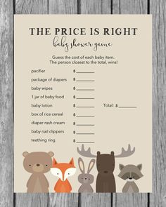 Woodland Baby Shower: The Price Is Right Baby Shower Game - Woodland Animal Party Theme - PrintItBaby.com - Instant Download. Print From Home.