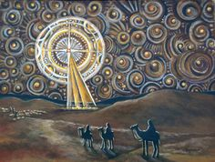 This is another 'visitation' of the theme of the Advent Star. I have an Advent Art Show at Monroe Community Church in December and wanted to. Twelve Days Of Christmas, Christmas Star, Christmas Images, Merry Christmas, Church Banners, Christmas Paintings, Christian Art, Christian Church, Religious Art