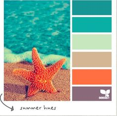 Pretty sure this is my favorite color palette everywhere! Coastal Decor Color Palette CereusArt--I'm liking this! Design Seeds, Colour Pallette, Colour Schemes, Color Combos, Summer Colour Palette, Ocean Color Palette, Beach Color Schemes, Combination Colors, Orange Palette