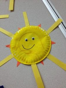 This would be fun to do in the summer as a shape review---the paper plate is a circle and instead of yellow strips, you could use yellow and orange, elongated triangles for the rays. They'd be cool dangling from our classroom ceiling!