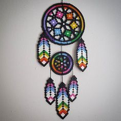 Dreamcatcher perler beads by staywithme_arienette by lorie Perler Bead Designs, Hama Beads Design, Diy Perler Beads, Perler Bead Art, Melty Bead Patterns, Pearler Bead Patterns, Perler Patterns, Beading Patterns, Melty Beads Ideas
