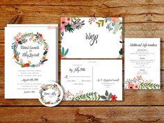 Hochzeitseinladung druckbare Kranz von CoralLanePaper auf Etsy
