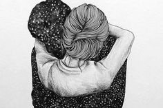 Jeg vil ha en klem så sterk at jeg knuser all tvil Calin Couple, Wallpaper S, Illustration Art, Drawings, Pictures, London Fashion, Tattos, Personal Development, Pink Blue
