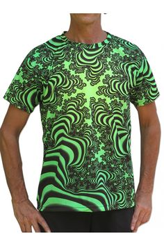 "UV Sublime S/S T : Lime Valley Fractal Fully printed short sleeve T shirt. This shirt is an ""All Over"" printed T shirt that will really grab people's attention. The design is printed using sublimation printing on a high quality UV Yellow polyester / Dri-Fit blended shirt. This allows for extremely vibrant colors that will never fade away no matter how many times it gets washed, & results in an extremely soft ""feel"" to the shirt for ultimate comfort. UV active  Artwork by SpaceTribe"