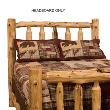 Our genuine white cedar log headboard, proudly made in America with a lifetime warranty.