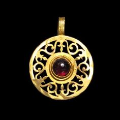 Lot: Roman Gold and Garnet Open-Work Pendant, Lot Number: 0010, Starting Bid: $900, Auctioneer: Artemission, Auction: Antique Jewellery of the Ancient World, Date: March 22nd, 2017 CET