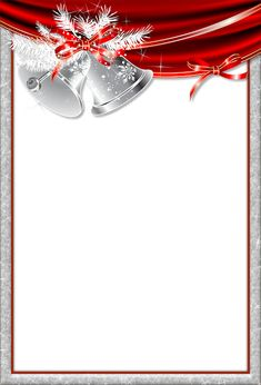 Christmas Transparent Frame With Silver Bells