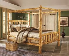 Deer bedding log wood canopy bed frame rustic look.  Pinned for the frame.