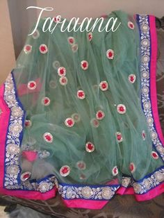 NAVRATRI BARGAIN OFFER! Only @11000 NOW! 03S1013915 Sequinned pretty English Green Tulle Saree with Blue and pink borders in silver zardozi and bootis all over Discount valid for limited period only! READY TO DELIVER mail to taraanacouture@gmail.com Indian Dresses, Indian Outfits, Desi Clothes, Indian Clothes, Modern Saree, Indian Wear, Indian Style, Desi Wear, Inspirational Celebrities