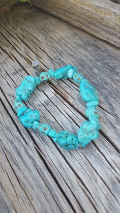 Raw Turquoise Stone Bracelet With Small by TheWinterTheory on Etsy