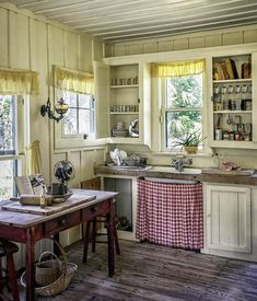 farmhouse kitchen Wooden Table Print featuring the photograph Cross Creek Country Kitchen by Lynn… # Old Country Kitchens, Rustic Kitchen, Home Kitchens, Kitchen Art, Old Farmhouse Kitchen, Kitchen Canvas, English Cottage Kitchens, 1930s Kitchen, Old Kitchen