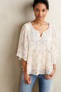 Anthropologie EU Aeris Silk Peasant Blouse