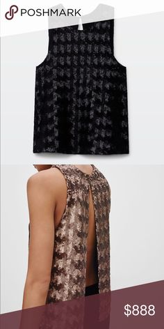 Black Talula Sequin Open Back Top All over black sequin design with lining. Has an open back with a secured button at the neck. Size small is true to size! Perfect for a night out or dressed down. ✨Reasonable offers accepted/negotiated with✨ Aritzia Tops Pink Tulle Skirt, Open Back Top, Sequin Top, Picture Sizes, Black Sequins, Fashion Design, Fashion Tips, Fashion Trends, Black Friday