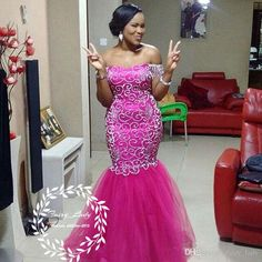 Dazzling Silver Beading Puffy Mermaid Prom Dresses 2018 Hot Pink Tulle Plus Size African Black Women Long Evening Dress Pageant Gown African Lace Styles, African Lace Dresses, Latest African Fashion Dresses, Inexpensive Prom Dresses, African Wedding Attire, Lace Dress Styles, African Traditional Dresses, Pageant Dresses, Protective Styles