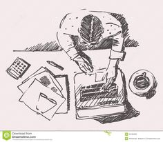 Sketch Of Man With Computer Office Work Hand Drawn Stock Vector - Image: 55105323