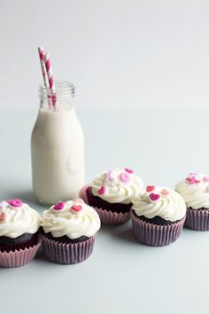 Chocolate Cupcakes with Goat Cheese Frosting & Cherry Jam Middles