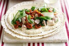Tuna and hummus wraps. Use mountain bread or smaller wrap bread to make healthier.