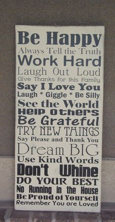 Family Rules Sign by ashjensen34 on Etsy, $40.00
