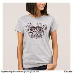 Hipster Pug Illustration T-Shirt Nov 26 2016 @zazzle #junkydotcom