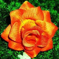 Sunburst Orange Rose Hair Flower by LilaJo on Etsy (Accessories, Hair, Clip, rockabilly, pinup, burlesque, weddings, romantic, rose silk flower, orange sun, summer fashion, bright colorful, boho chic, bridal bridesmaid)