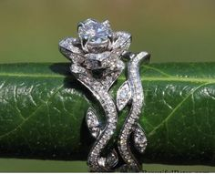 14k Gold Flower Leaf Rose Lotus Diamond Engagement Ring Wedding Band Sale…