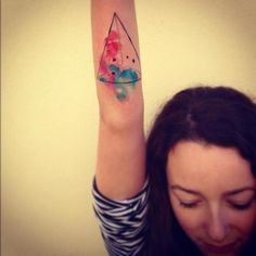 watercolor triangle tattoo