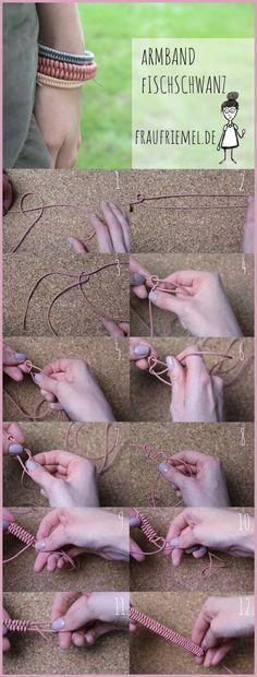 Armbänder knüpfen - Fischwanz Armband Bastelanleitung von frau friemel
