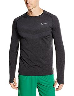 Nike DriFIT Knit Shirt LongSleeve Mens Dark GreyBlackReflective Silver XL    Click image to review more 1d0b11a20f994