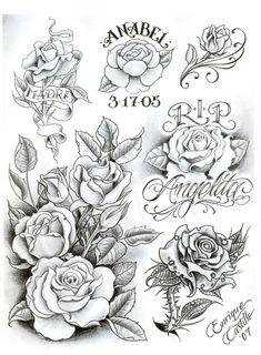 by Enrique Cast. Graffiti Drawing, Pencil Art Drawings, Floral Tattoo Design, Tattoo Designs, Paradise Tattoo, Tattoo Lettering Fonts, Make Tattoo, Tattoo Flash Art, Chicano Art