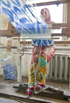 A weaver in the  Fergana Valley Uzbekistan  famous for its ikat fabrics – which require infinite skill and patience of its practitioners. Tying The Clouds. Hand Eye Magazine