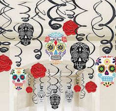 Day of the Dead Party Hanging Skull Skulls Halloween Decorations  #Halloween